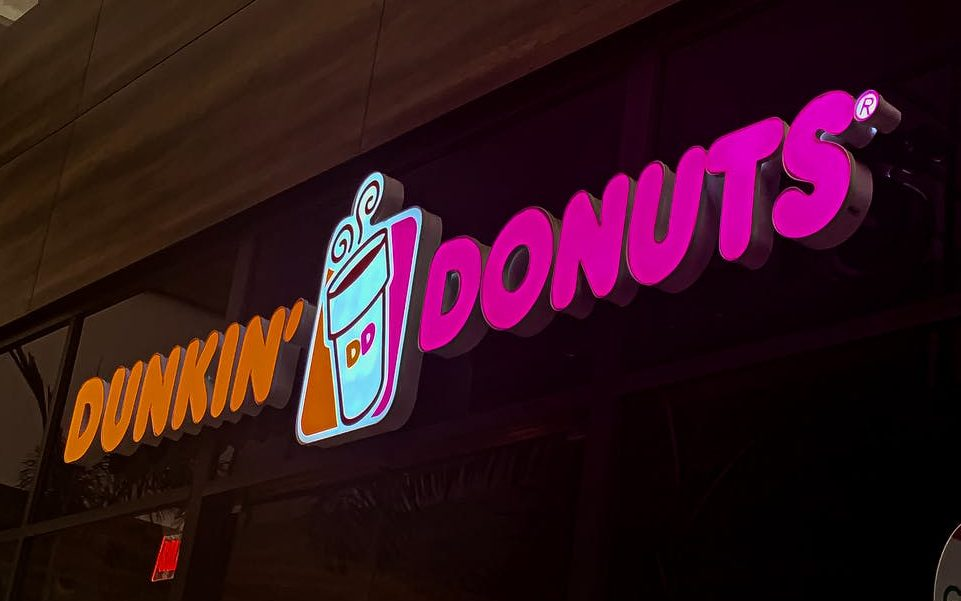 photo of dunkin donuts neon signage